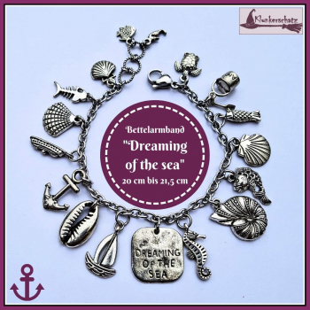"Bettelarmband ""Dreaming of the sea"" - 20 cm bis 21,5 cm - Unikat"