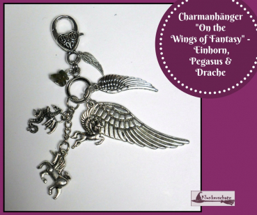 "Charmanhänger ""On the Wings of Fantasy"" - Einhorn, Pegasus & Drache"