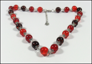Collier aus Crackle-Perlen in Rot - Orange - Braun